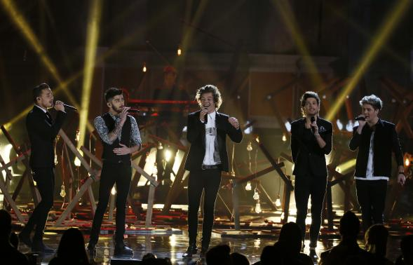 """Music group One Direction performs """"Story of My Life"""" at the 41st American Music Awards in Los Angeles"""