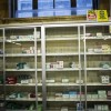 Near empty cigarette shelves are seen at a CVS store in New York
