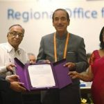 Chairperson of South-East Asia Regional Certification Commission for Polio Eradication Supamit Chunsuttiwat, left,