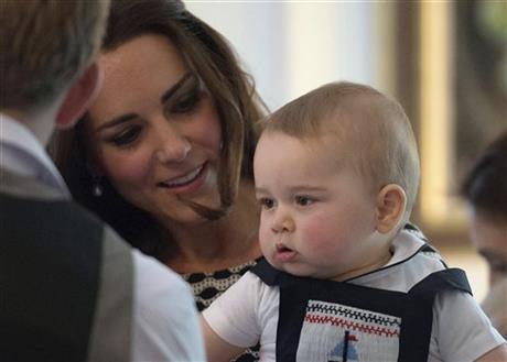 Britain's Kate, the Duchess of Cambridge, holds Prince George
