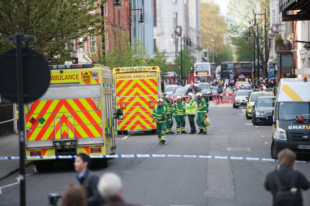 Building collapse in Grosvenor Square, London