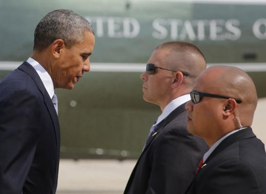 U.S. President Obama gets ready to depart Andrews Air Force Base outside Washington for his visit to Asia
