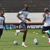 France's Paul Pogba, center, warms up during a training session at Santa Cruz stadium