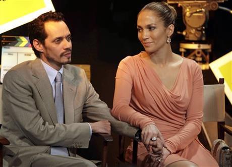 Jennifer Lopez, right, and husband Marc Anthony