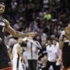 Miami Heat forward LeBron James (6) and center Chris Bosh (1)