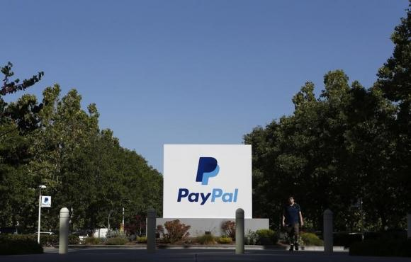 A PayPal sign is seen at an office building in San Jose, California