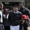 Grammy-winning R&B singer Chris Brown departs the D.C. Courthouse in Washington