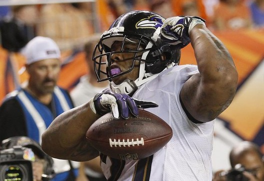 Baltimore Ravens Rice reacts after scoring a touchdown during the second quarter in their NFL football game in Denver