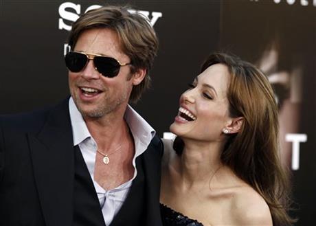 Angelina Jolie, right and Brad Pitt