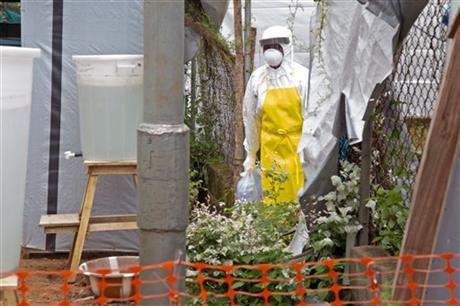 Ebola isolation unit wearing protective gear