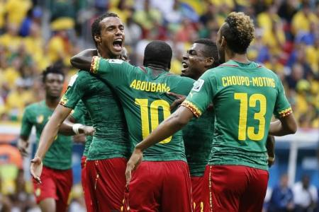 Cameroon's Matip celebrates his goal against Brazil with his teammates during their 2014 World Cup Group A soccer match at the Brasilia national stadium in Brasilia