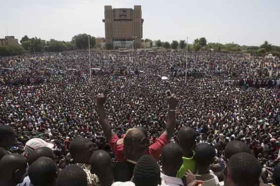 Anti-government protesters gather in the Place de la Nation in Ouagadougou