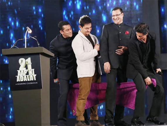 Salman Khan, Shah Rukh Khan and Aamir Khan with Rajat Sharma
