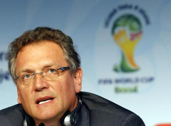 FIFA Secretary General Valcke addresses a news conference regarding the legacy of the 2014 Brazil World Cup in Sao Paulo