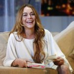 """File photo of actress Lindsay Lohan rehearsing a scene from """"Speed-the-Plow"""" by David Mamet at the Playhouse Theatre in London"""