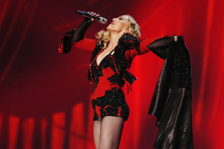 """Madonna performs """"Living for Love"""" at the 57th annual Grammy Awards in Los Angeles"""