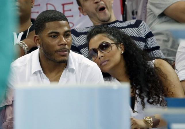 Nelly and his girlfriend Shantel Jackson attend the Brisbane International tennis tournament final match between Roger Federer and Milos Raonic
