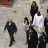 U.S. reality TV star Kardashian walks on grounds of Cathedral of Saint James in Jerusalem's Old City