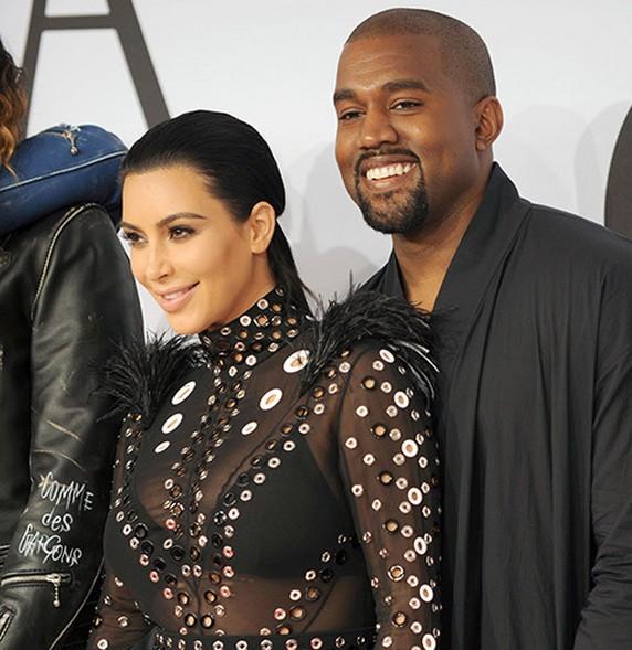 Kim Kardashian and Kanye West - FameFlynet