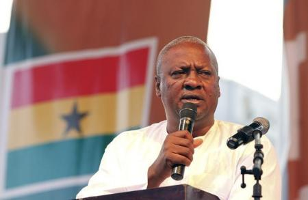 Ghanaian newly elected president John Dramani Mahama gives a speech as he attends a victory rally in Accra