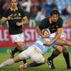 Argentina's Juan Manuel tackles South Africa's Duane Vermeulen during their Rugby Championship match at Loftus Versfeld stadium in Pretoria