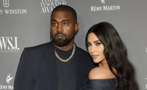 Kanye West, left, and Kim Kardashian